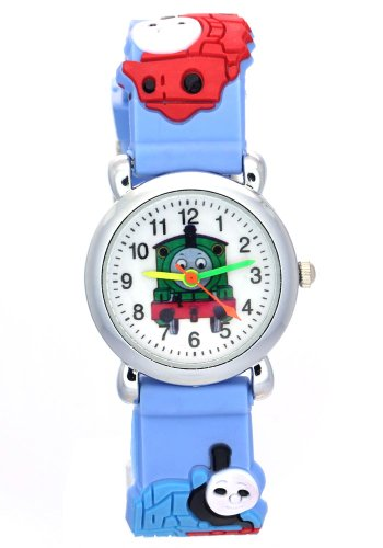 TimerMall Thomas Kids 3D Cartoon Blue Rubber Strap Water Resistant Analog Quartz Watches