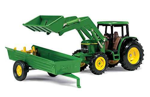 Ertl John Deere 6210 Tractor With Loader And Manure Spreader, 1:32 - Tractor Farm Diecast