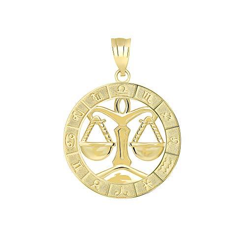CaliRoseJewelry 10k Yellow Gold Libra Zodiac Pendant