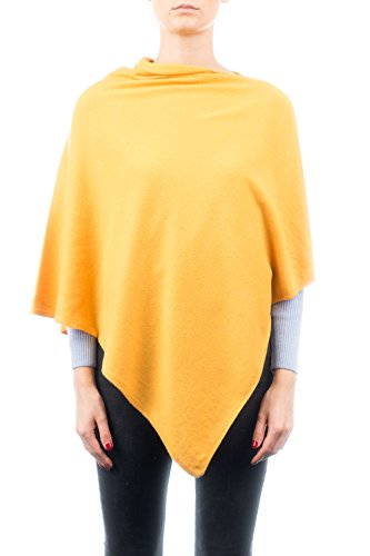 - DALLE PIANE CASHMERE - Poncho Cashmere Blend - Made in Italy, Color: Yellow, One Size