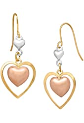 Just Gold 14k Tri-Colored Gold Double Heart Drop Earrings