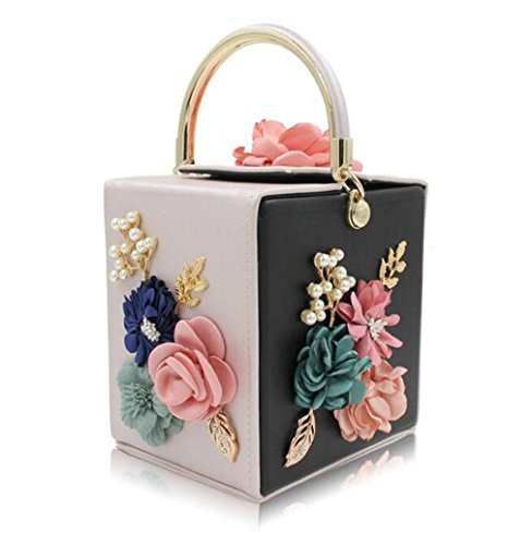 Square Women Bags Shape Vintage Clutch Party Flower and Bag Wedding ZJ Clutches beige black Evening Tote amp;OS Purse 057qHqx4
