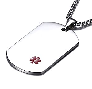 JF.MED Highly Polished Stainless Steel Tag Medical Alert ID Necklace for Men Women 20-24 inch Free Engraving