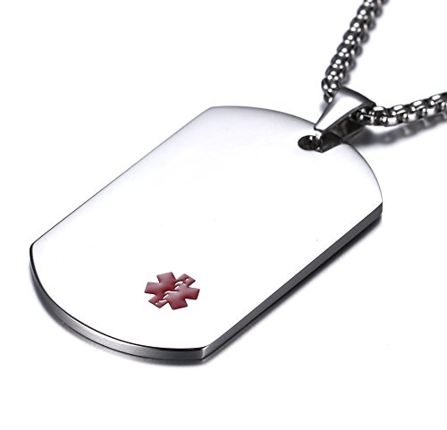 JF.MED Highly Polished Stainless Steel Tag Medical Alert ID Necklace for Men Women 24 inch Free ()