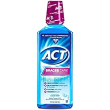 ACT Braces Care Ant-Cavity Fluoride Mouthwash, Clean Mint, 18 Ounce (Pack of 2)