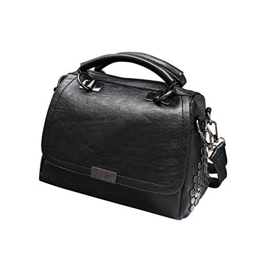 SALLYDREAM Bolso de Hombro con Cadena de 4 Bolsillos para Mujer, Moderno y Elegante Negro