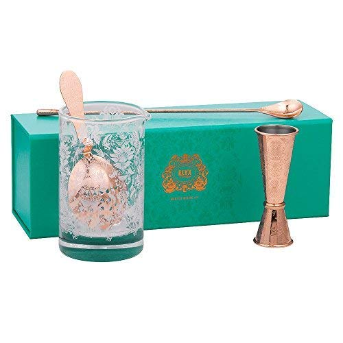 Elyx Boutique Martini Gift Set | Bartender Kit | 4 pieces Including Copper plated Jigger, Strainer, Bar Spoon and Mixing Glass | Perfect Gift by Elyx Boutique (Image #7)