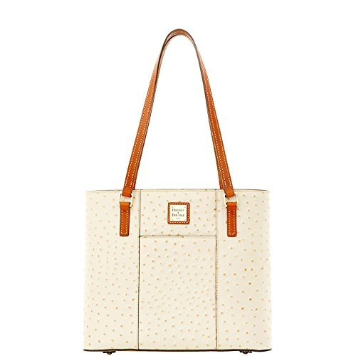 (Dooney & Bourke Small Lexington Ostrich Emb Leather Tote Pearl)