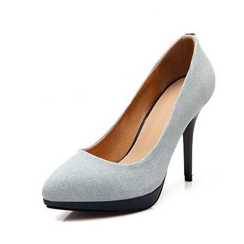 Pumps Pull Women's On Spikes WeenFashion Material Solid Shoes LightBlue Stilettos Soft q48ayKIwy
