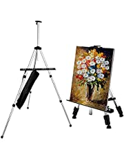 Easel, Painting Art Easel Stand for Adults Kids, Adjustable Height 52cm -153cm Table Top and Floor Display Easel, SIilver