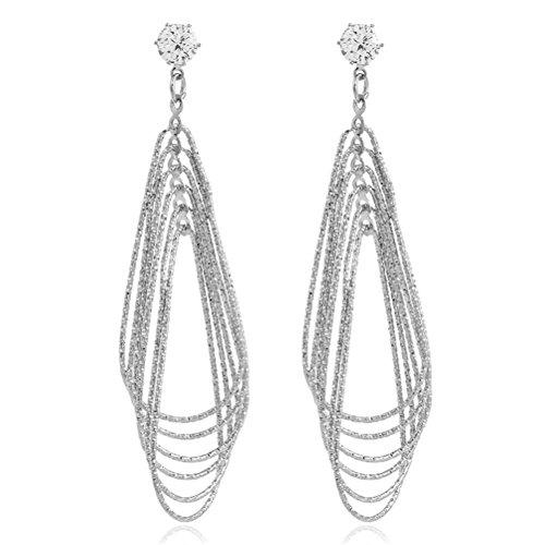 Luxury Multi Layered Open Oval Geometry Link Drop Wedding Earring Bridal Set Gift For Women Girl (Link Layered)