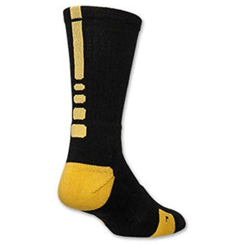Nike Elite Basketball Crew Socks Steelers Small (Youth 3-5) Black, Maize