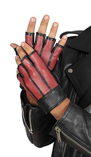 Gym Fingersless Leather Gloves for Mens - Adult Red Deerskin Workout Gloves (L) -