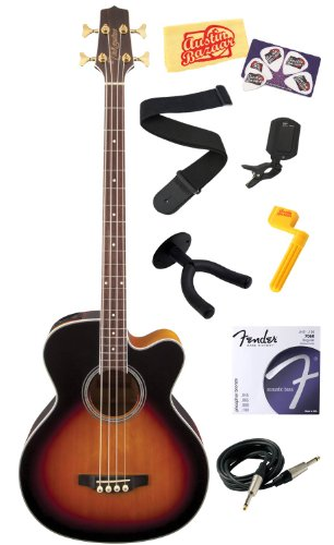 Takamine GB72CE G Series Jumbo Cutaway Acoustic-Electric Bass Guitar with Rosewood Fretboard Bundle with Strings, Strap, Instrument Cable, Wall Hanger, Tuner, Stringwinder, Picks, and Polishing Cloth - Brown Sunburst by Takamine
