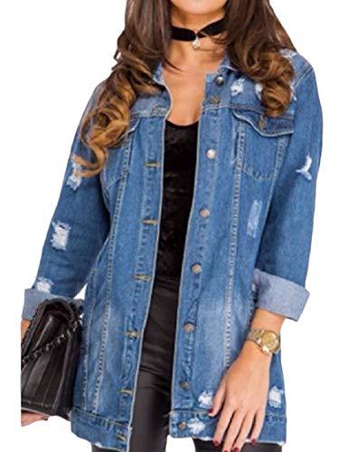 Turn Jacket Denim EnergyWomen Buttons Denim Weekend Down Destroyed Blue Long Sleeve Collar 7EURCqUw
