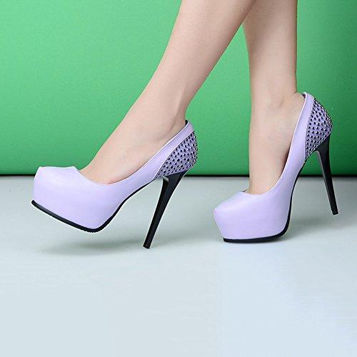 der UK5 EU38 CN38 Schuhen klassischen Plattformdiamant mit Schuhe Farbe Pumps Art Schuhhochhackige 5 Art elegante Weisefrauen Neue wasserdichten der XUERUI Lila Lila und größe nwzHnqXR