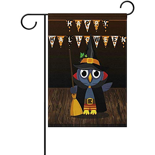 Starophi Decor Flags Halloween Owl Witch with Broom 12 x 18 Inches Double Sided Garden Flag Outside -
