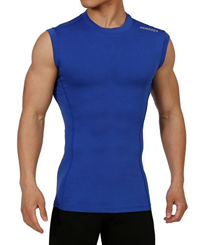 10STAR11 ARMEDES Men's Compression Unique Cool Dry Thermal Layer Performance Sleeveless T-Shirt Blue,M