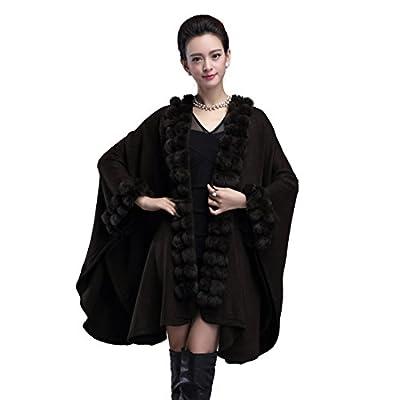 YYF Women's Faux Fox Fur Shawl Wraps Collar Cloak Coat Sweater Cape Poncho Luxury Coat for sale