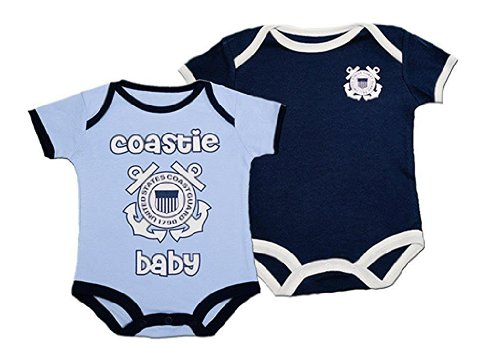 Trooper Clothing Baby-Boys' 2Pc US Coast Guard Bodysuits 3-6 Mo Blue
