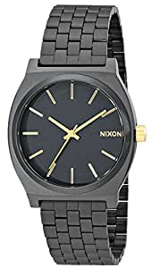 Nixon Time Teller Watch - Men's Matte Black/Gold Accent, One Size