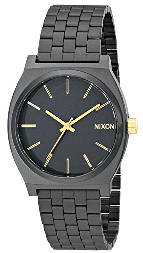 Nixon Time Teller Watch Men's Matte Black Gold Accent Deal (Large Image)