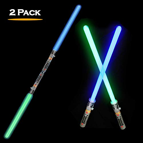 2-in-1 LED Light Up Swords Set FX Double Bladed Dual Sabers with Motion Sensitive Sound Effects (2 Pack) -