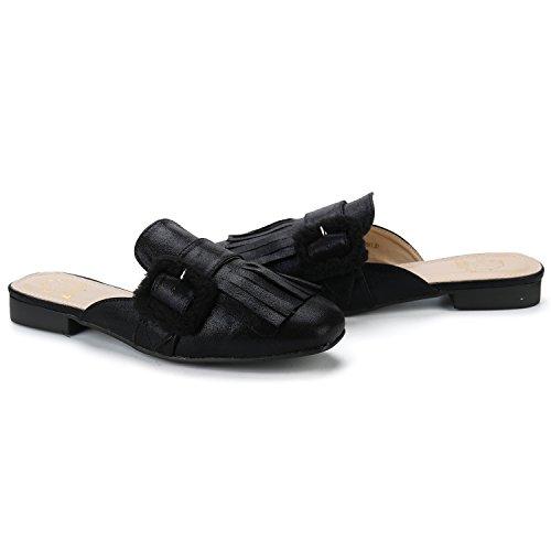 Alexis Leroy Womens Backless Slide Slip On Loafers Tassels Mule Slippers Black yMouyxj