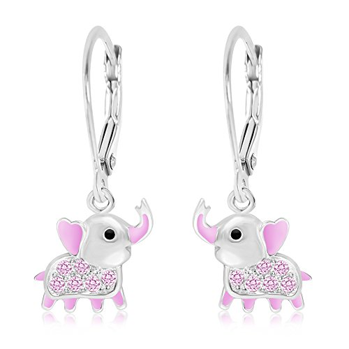 Premium 8MM Crystal with Pink Enamel Elephant Leverback Kids Baby Girl Earrings With Swarovski Elements By Chanteur – 925 Sterling, White Gold Tone – Perfect Gift For (Enamel Childrens Elephant Earrings)