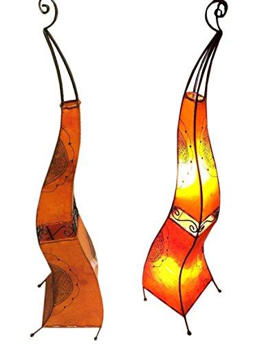 Moroccan Henna Lamp in Tattooed Goat Skin & Wrought Iron Lamp ()