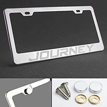 Dodge JOURNEY Stainless Steel License Plate Frame Rust Free W// Bolt Caps