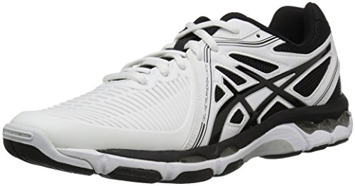 Image of ASICS Men's Gel-Netburner Ballistic Volleyball Shoe, White/Black/Silver, 7.5 M US