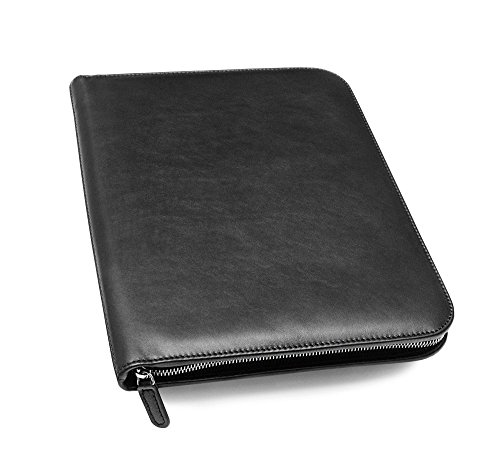 Maruse Leather Padfolio Executive Leather Writing Portfolio, Document Holder, Business Case - Made in Italy (Black)