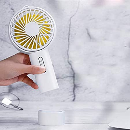 Fan Mini Handheld Portable Fan Color : White USB Rechargeable Ventilator,Table Cooler Rotate Fan Detachable Base for Office//Outdoor Travel Mini Portable Cooling Fan