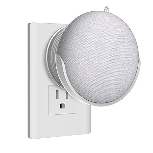 Homehod Wall Mount Stand Hanger for Google Home Mini Voice Assistants,Puls in Bedroom, Bathroom and Kitchen,Hides the Google Home Mini Cord - White
