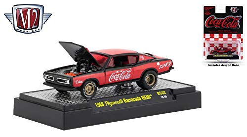 M2 Machines 1968 Plymouth Barracuda HEMI Limited Edition Coca-Cola Release RC02H - 2018 Castline Hobby Edition 1:64 Scale Die-Cast Vehicle & Display Case (RC02 18-59) ()