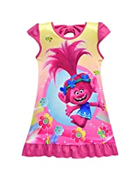 Tsyllyp Trolls Comfy Loose Fit Pajamas Girls Printed Princess Dress Nightgown