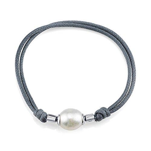 11-12mm Genuine White Freshwater Cultured Pearl & Rope Bracelet for - Bracelet Pearl Mm 12