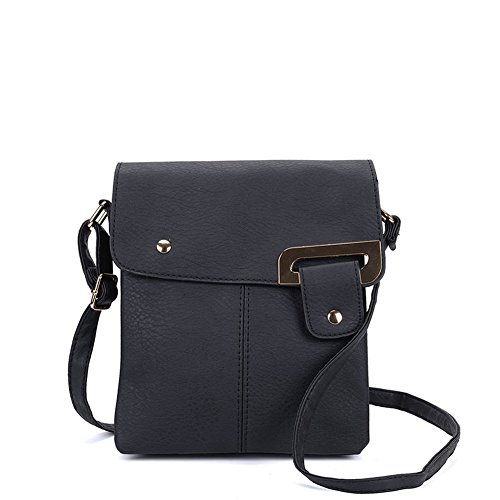 SALLY YOUNG Fashion Women Classic PU Leather Flap Cross Body Bags Messenger Bags (Black)