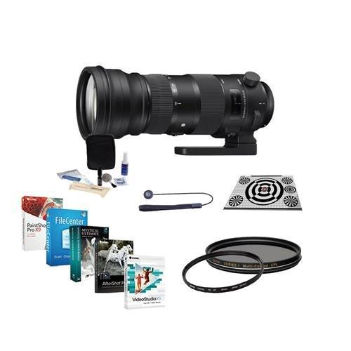 Sigma 150-600mm F5-6.3 DG OS HSM Sport Lens for Nikon Cameras - Bundle w/LensAlign MkII Focus Calibration System, UV Filter, Cleaning Kit, Lens Cap Leash, CPL Filter, Pro Software Package