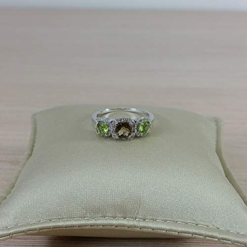 14k white gold trilogy cushion cut peridot quartz and diamond halo engagement ring