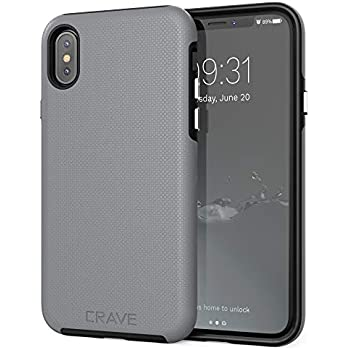 c92657c859 Crave Case for iPhone Xs and iPhone X, Dual Guard Protection Series Cover  for Apple iPhone X/XS (5.8 Inch) - Slate Grey