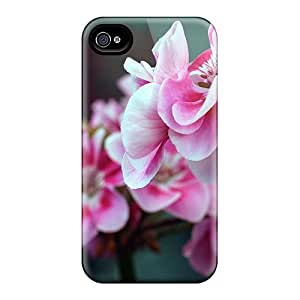 New Premium Flip Case Cover Pink Red Flowers Skin Case For Iphone 4/4s