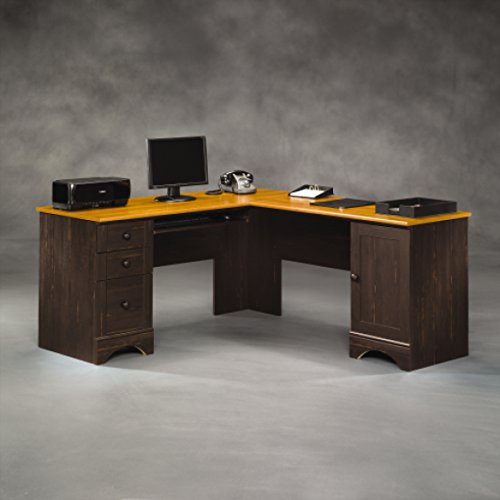 Sauder Harbor View Corner Computer Desk, Antiqued Paint Collection Desk Hutch