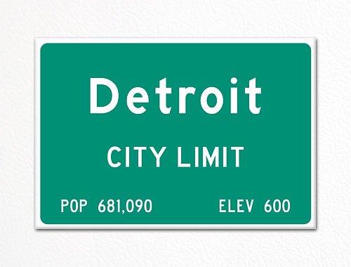 Detroit City Limit Sign Souvenir Fridge Magnet