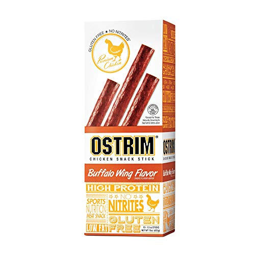 Ostrim Chicken Snack Stick Buffalo Wing Flavor High Protein Gluten Free Low Fat No Nitrates Meat Snack 15 ounces (Pack of 10)