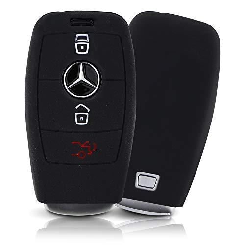 ASARAH Premium siliconen sleutelhoes compatibel met Mercedes Benz, beschermhoes autosleutel cover – zwart MB 3BKL-c