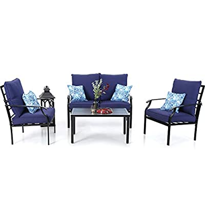 PHI VILLA Metal 4 Piece Outdoor Patio Furniture Cushioned Conversation Set with 1 Loveseat, 2 Chairs, 1 Coffee Table, 4 Pillows & Steel Frame, Navy Blue