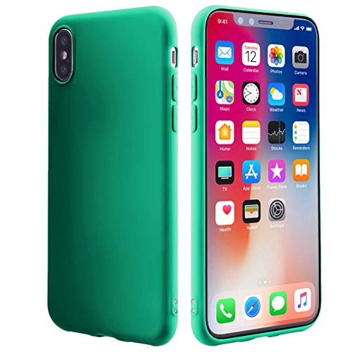 Slim Fit Case Compatible iPhone Xs(2018)/X(2017) 5.8 inch Case,Thin TPU Silicone Soft Protective Bumper Shock Absorption Anti-Scratch Support Wireless Charging Cover for Women Men Girl Kids-Teal