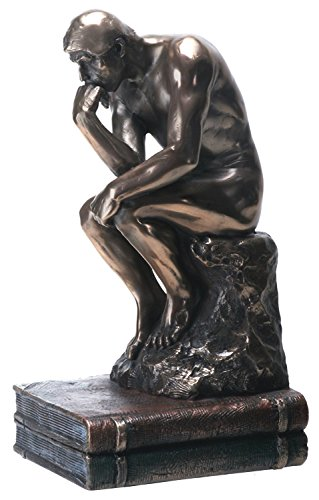 (YTC 7.75 Inch The Thinker Nude Male Statue Figurine, Bronze Colored)